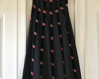 Carlye 1950s Swing Dress Black Pink Roses Strapless Large