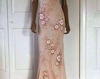 Lillie Rubin Silk Full Length Dress Deco Embroidered Gatsby Style Small