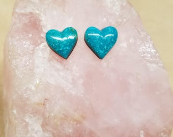 Blue Sonora Turquoise Heart Cabochon Pair/ backed