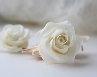 Ivory flower Rose hair Wedding Hair flower Bridal Hair accessories Bridal Hair flower Bridal hair clip  Wedding hair accessories Flower clip