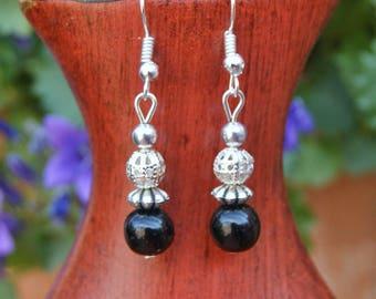 Black earrings, filigree earrings, dangle earrings Silver earrings