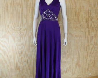 Vintage 1960's 70's Amethyst Rhinestone Pearl Beaded Sleeveless Formal Maxi Dress Small Medium S / M