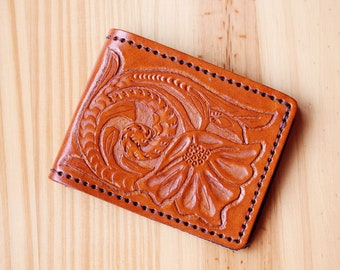 Hand Carved Leather Wallet Sheridan Wallet Hand Tooled Leather Card Holder Bifold Wallet Gift Dad Gift For Husband Wallet Gift Father