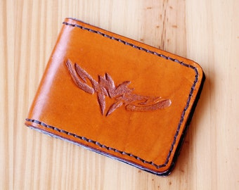 Tribal Wallet Hand Carved Leather Wallet Gift Dad Tribal Gift Mens Leather Wallet Leather Bifold Wallet Leather Card Holder Billfold Wallet