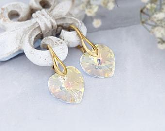 Heart earrings, Swarovski earrings, Bridesmaid gift, Dainty earrings, Aurora Borealis crystal earrings, Sterling Silver rose gold earrings