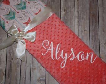 Arrows - Personalized Minky Baby Blanket -Coral Minky