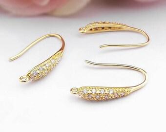 4 pcs Micro Pave Cubic Zirconia earring hooks,Golden,brass ear hook,Golden Rhineston Ear hooks,golden finding,cubic zirconia earring hook
