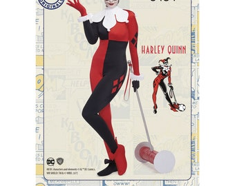 Simplicity 8434 Misses' Harley Quinn, DC Comics, D.C. Villian, Women's Halloween Costumes, Miss Harley Quinn, Jester, Cosplay, Plus Size