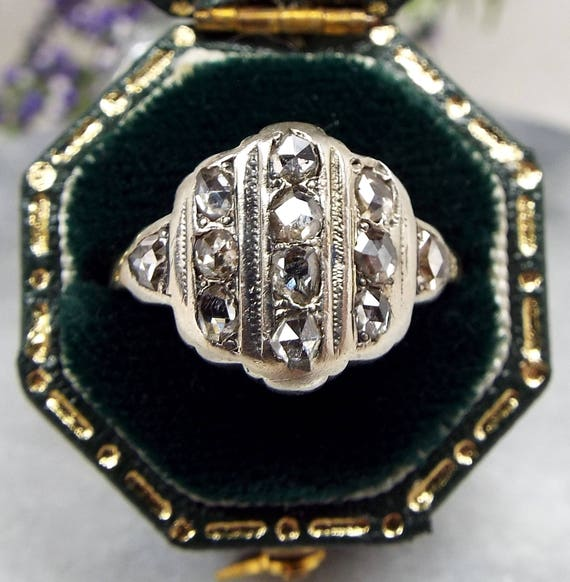Antique / Edwardian 14ct Gold & Silver Rose Cut Diamond Shield Ring / Size M 1/2