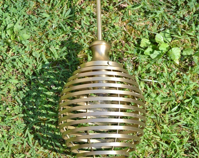 Quoizel Brushed Brass Pendant Beehive Shape Shade Laurie Smith Design Modern Home Decor Panchosporch