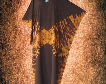 Bleach Effect Hand dyed Artwork Casual Kaftan Dress