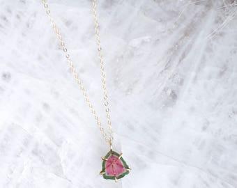 Watermelon Tourmaline Slice Pendant Necklace