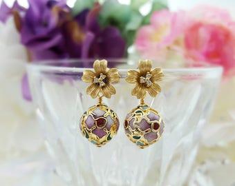 Gold Flower Earrings, CZ Floral Earrings, Vintage Cloisonne Earrings, Cubic Zirconia Stud, Garden Wedding Earring, Mother of the Bride E4215