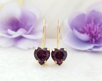 Amethyst Heart Earrings - Purple Heart Earrings - Swarovski Heart Earrings Dangle - Valentines Earrings - Gold Dangle Earrings Long E3473