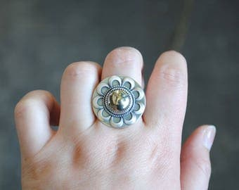 Sterling Silver Pyrite Ring, Pyrite Statement Ring, Size 6.75