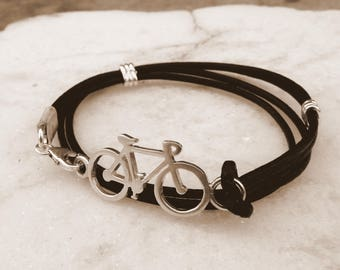 Bike in silver and double round leather bracelet