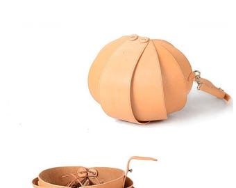 Brown Leather Crossbody Bag, Nude Leather Crossbody, Brown Crossbody Bag, Round Bag, crossbody bags for women, Beetle Bags, Shoulder Bag Me