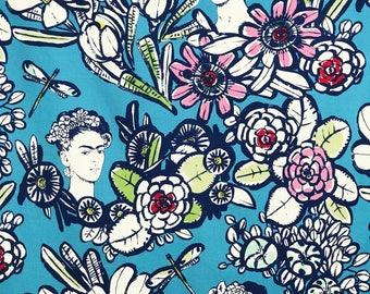 Frida Kahlo Kimono Robe • Womens Long robe • Frida Kahlo Blue dressing gown • XS - Plus sizes • Cotton Womens Robe • FK Blue Pink White