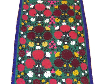 Dark green vintage Suzani embroidery with floral border & fringe  3.5' x 5.5'  (#1)