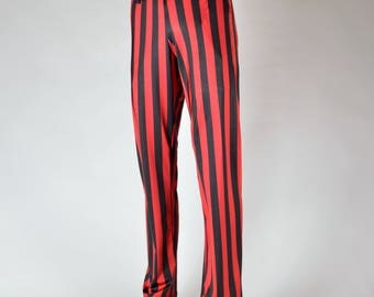 Red & Black Men's Striped Un-Dress Slacks // Pirate Pants // Steampunk Pants // Circus // Renaissance