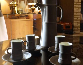 """Mid Century Dansk/Denmark IHQ """"Flamestone"""" Coffee Set for 4--Jens Quistgaard Design--Coffee Pot + 4 Cups and Saucers"""