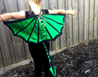 Black and Green Dragon Wings, Tail and Horns Costume Set