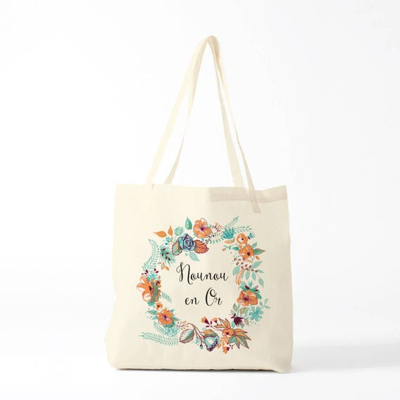Tote bag, canvas bag, thank you nanny, mint version, gift nanny.