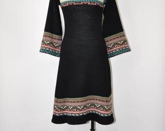 70s black sweater dress / 1970s bell sleeve dress / vintage folk knit dress