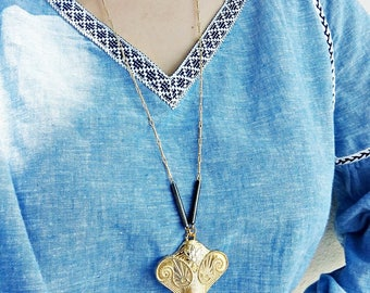 Elephant Charm Boho Necklace / Gold Plated Brass/ Gunmetal elements/ Gold elephant pendant/ Layering Jewelry / Boho Rock Gypsy long Necklace