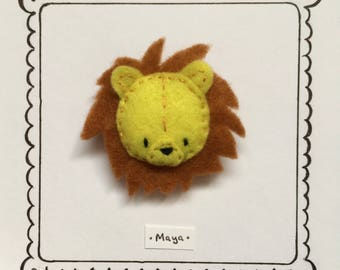 Hand embroidered felt brooch -Maya the Lion