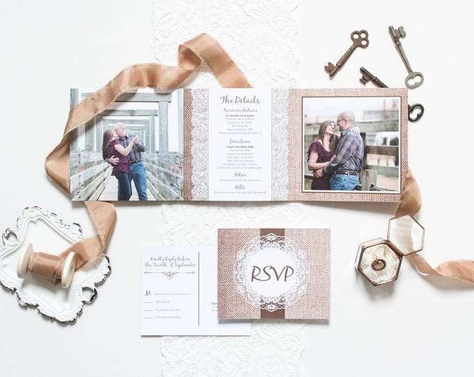 5x5 Burlap and Lace Rustic Tri Fold Wedding Invitation and Postcard RSVPs & Envelopes