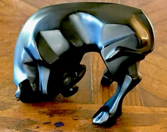 alique Auroch Taureau Bull in Black Crystal, Mint, Signed