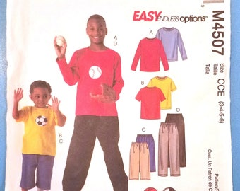 McCall's 4507 - Children's and Boy's Tops, Shorts and Pants with Appliques Pattern - Sizes 3, 4, 5, and 6 - Easy Children's Sports Shirts