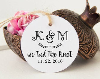 24 We Tied the Knot Tags, Monogram Favor Tags, Thank You Gift Tags, Wedding Thank You Hangtags
