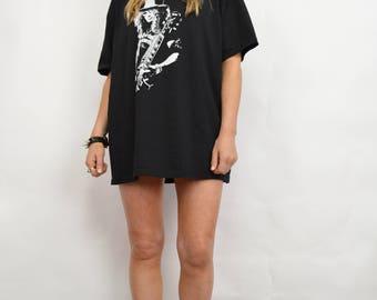 Vintage 90s SLASH Guns N' Roses Oversized Black Rock T-Shirt Tee Rocker Grunge Biker Heavy Metal Festival Large