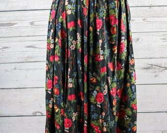 Susan Bristol Winter Flowers and Grapes Pleated Maxi Skirt- Size 8- 20% Wool