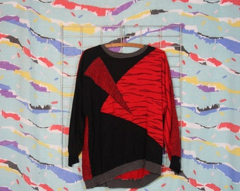 80s wild geometric pattern crew neck sweatshirt