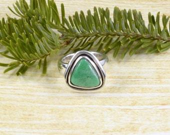 Triangular Variscite Ring // Variscite Jewelry // Sterling Silver // Village Silversmith