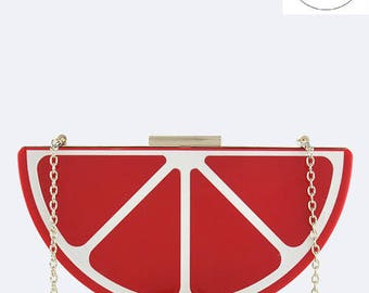 Red Citrus Statement Clutch