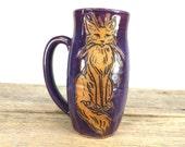 Cat Mug - 18 oz - Cute Ceramic Mug - Unique Pottery Mug - Halloween Mug - Large Mug for Coffee - Large Mug for Tea- Mesiree Ceramics