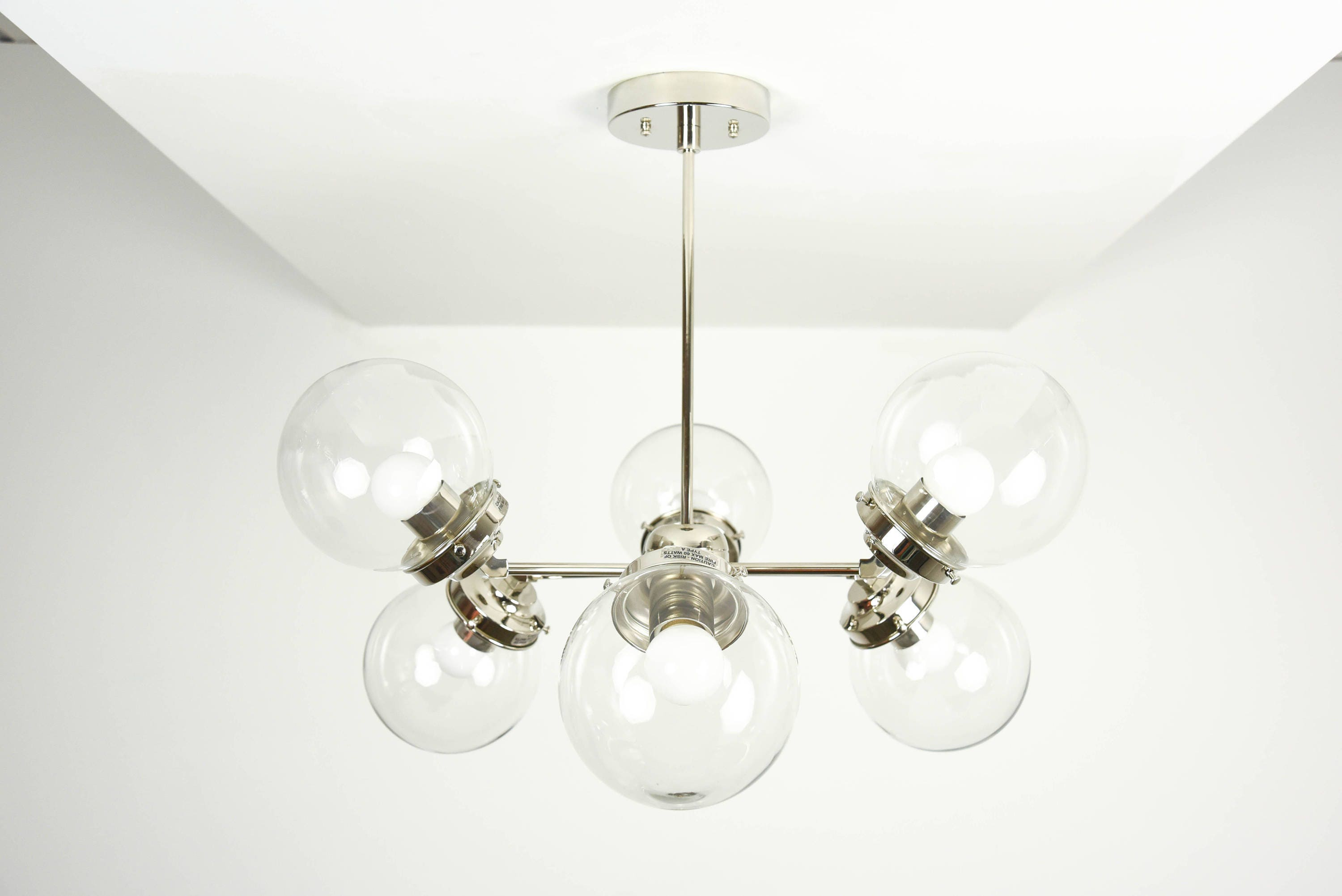 Modern bubble chandelier polished nickel 6 arm light clear globe modern bubble chandelier polished nickel 6 arm light clear globe pinwheel sputnik mid century industrial hanging light ul listed arubaitofo Choice Image