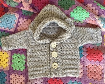 Made to Order: Crochet Bear Cub Cardigan, Crochet Cardigan with Hood and Ears, Crochet Garment for Infant to Eight Years, Crochet Sweater,