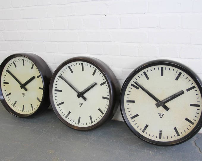 Large 50cm Bakelite Clocks By Pragotron Circa 1950s