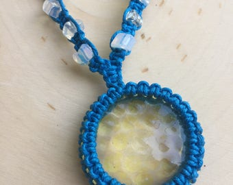 Macrame Choker Necklace - Opalite Jewelry - Glass Cabochon Necklace - Bohemian Necklace - Hippie Jewelry - FREE SHIPPING