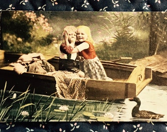 Antique 1900s Portrait Postcard, Cute Kids In Rowboat On Pond, Vintage Post Card Collectible.