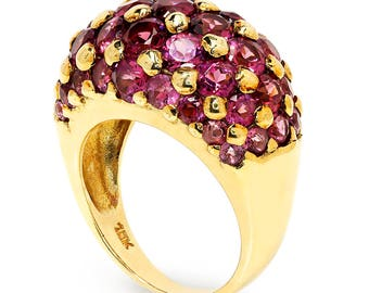 Estate Amethyst Cluster Dome Ring in Solid Yellow Gold 4.00ctw