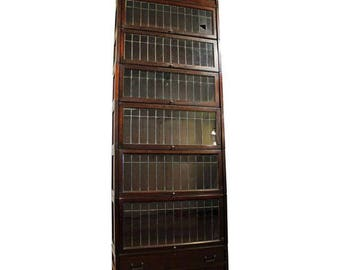 Antique Lundstrom Mahogany Leaded Glass Sectional Barrister Bookcase