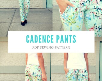 Cadence Pants PDF sewing pattern and step by step sewing tutorial: Pattern includes sizes for 4 to 22 and illustrated drawings for the tutor