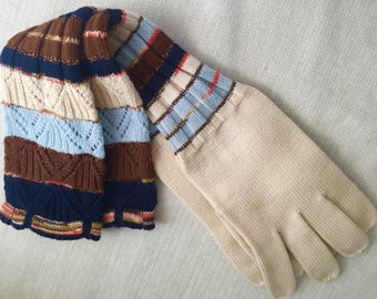 Vintage Missoni Striped Wool/Metallic Knit Gloves