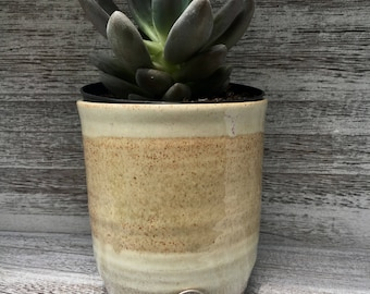 Tan ceramic wine tumbler, succulent planter, makeup brush holder, cream and brown cup, pottery wine cup handmade pottery from North Carolina